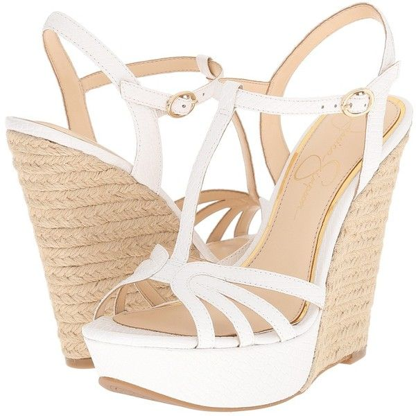 Jessica Simpson Bevin Women S Wedge Shoes White Wedge Shoes Womens Wedges White Sandals Heels