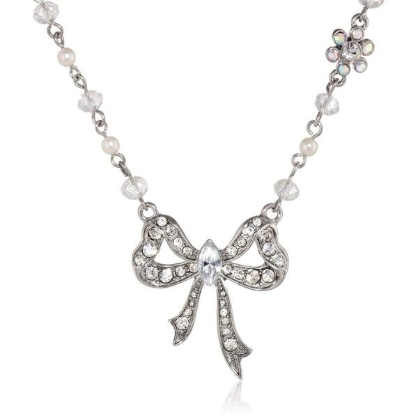 Items that are handmade may vary in size, shape and color Silver tone necklace chain with faux pearls and clear faceted cherry beads, silver tone bow pendant w…