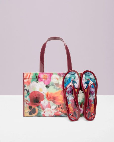 89f30a95a Floral Swirl flip flop and bag set - Deep Pink