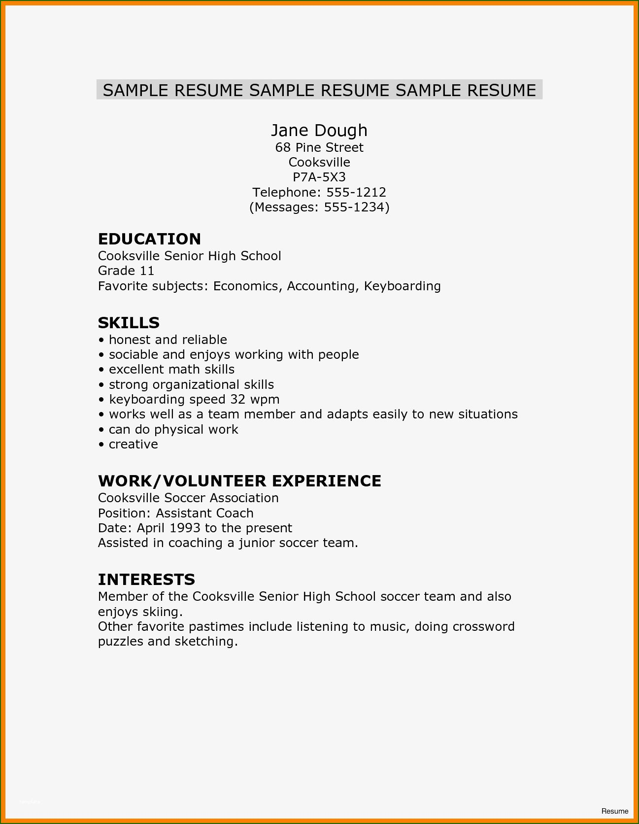 7 Ideal Free High School Resume Template For 2020 In 2020 High