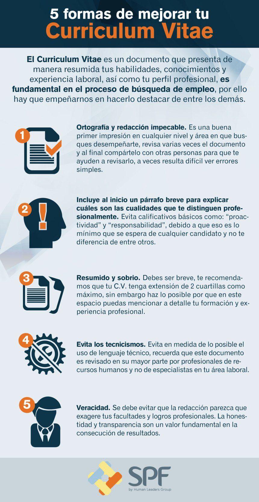 5 Formas De Mejorar Tu Curriculum Infografia Infographic Empleo