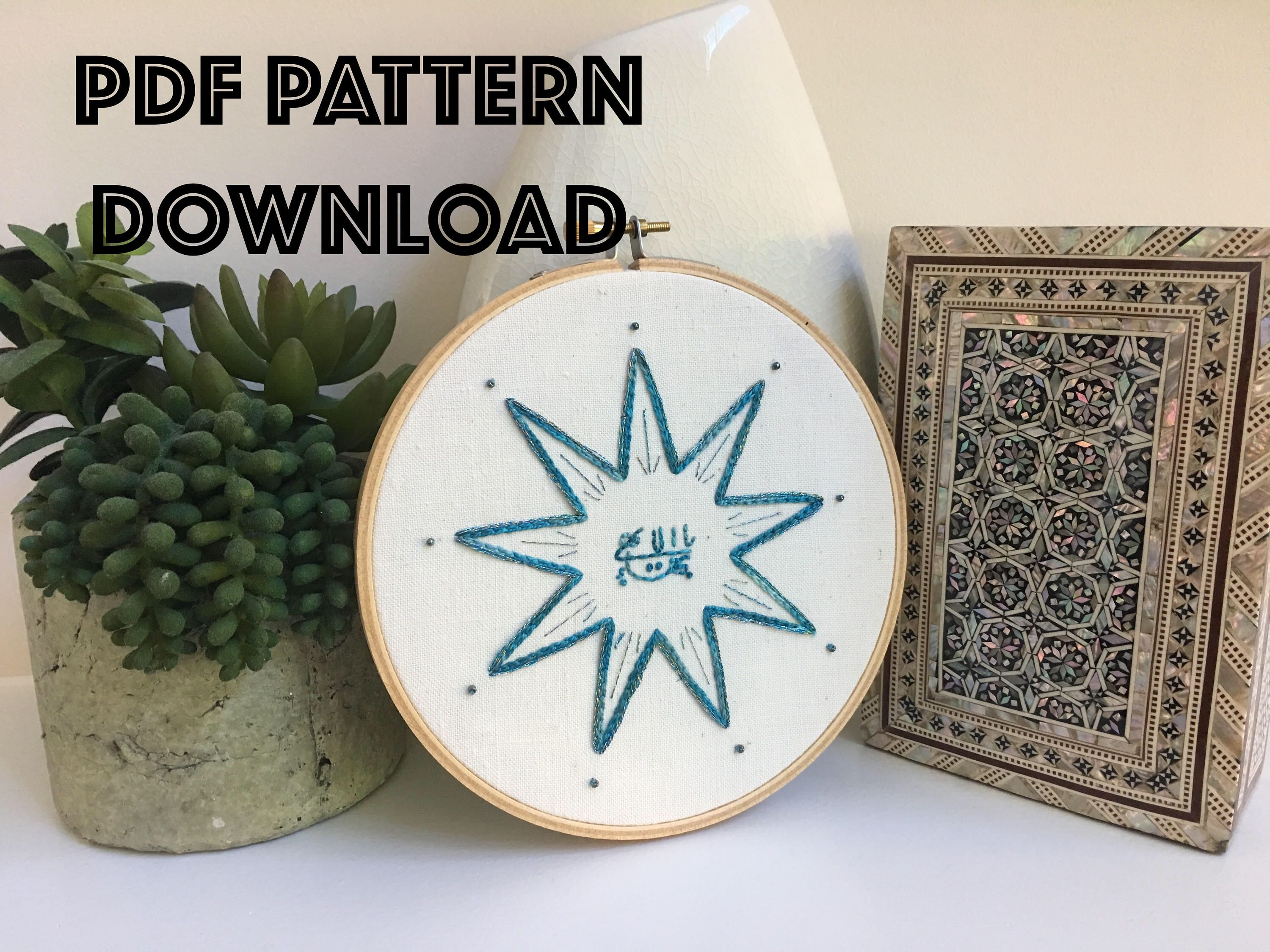 Digital Pdf Embroidery Pattern Of Nine Pointed Star With