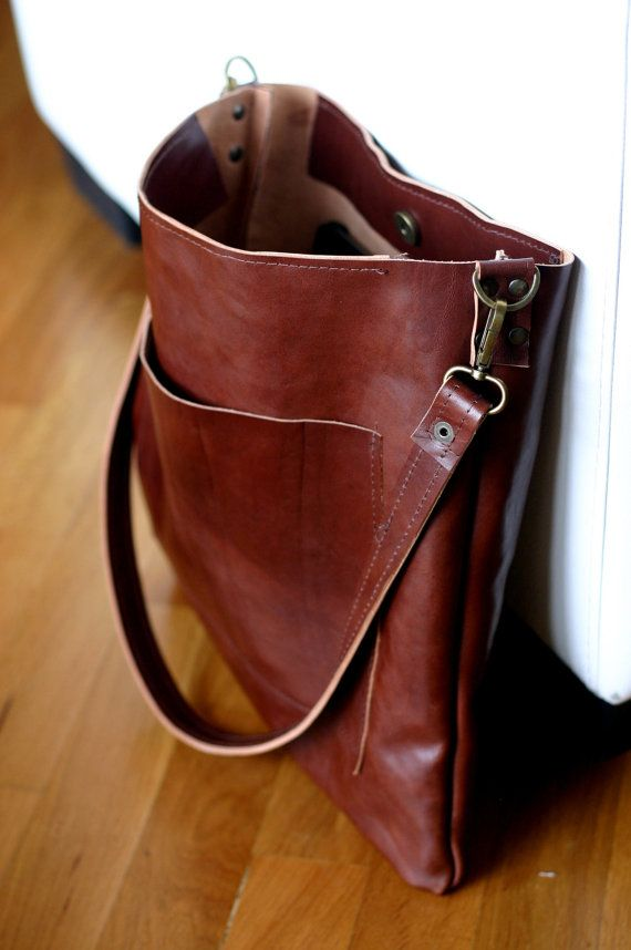 Handmade leather shoulder bag made with a genuine Italian great and soft  veg tan leather Leather tote bag This kind of leather will become better  with use ...