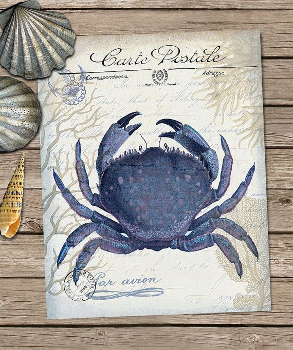 Seaside Postcard Crab Print on Cream - seaside décor beach house wall art Coastal Décor beach house décor Nautical Print Nautical décor