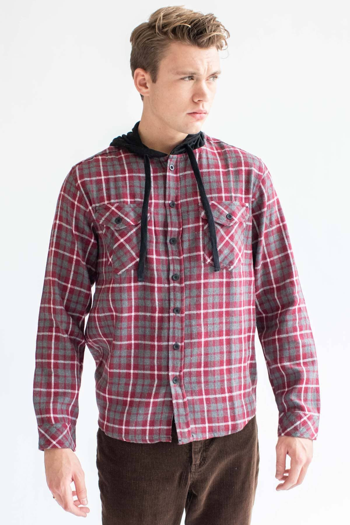 Red Plaid Hooded Flannel Shirt Ragstock Hooded Flannel Flannel Shirt Red Plaid [ 1800 x 1200 Pixel ]