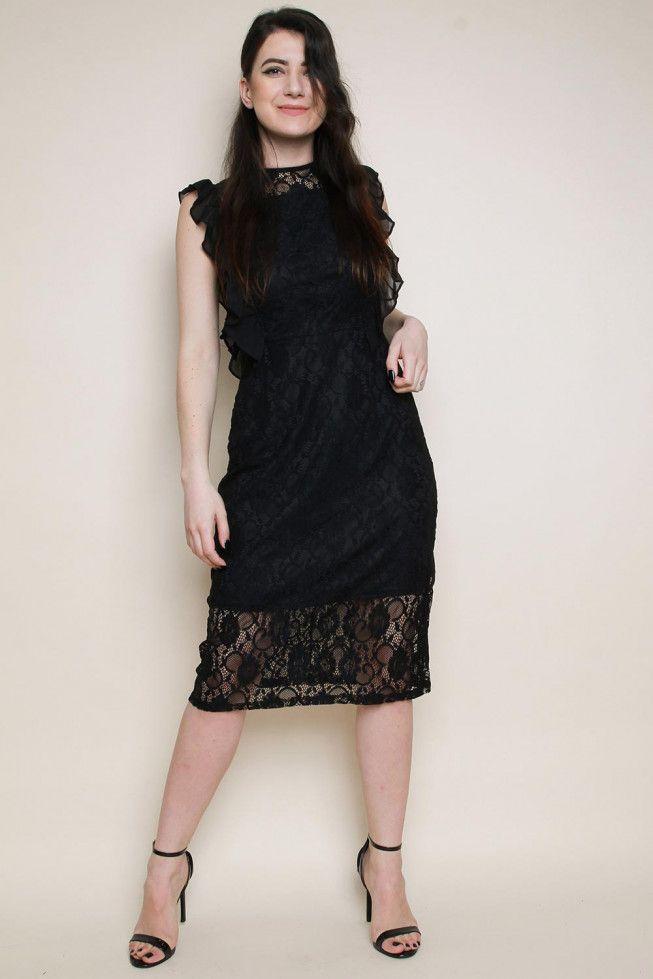 50b15cc61144 Lace Frill Midi Dress-Black | WHOLESALE DRESSES in 2019 | Dresses ...