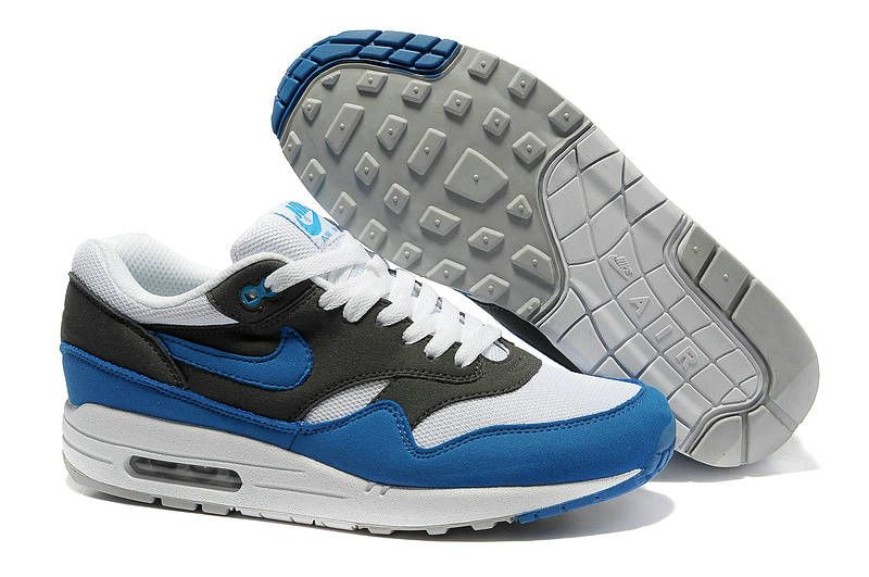 newest 56e46 777c2 Mens Nike Air Max 1 White Signal Blue Anthracite Shoes