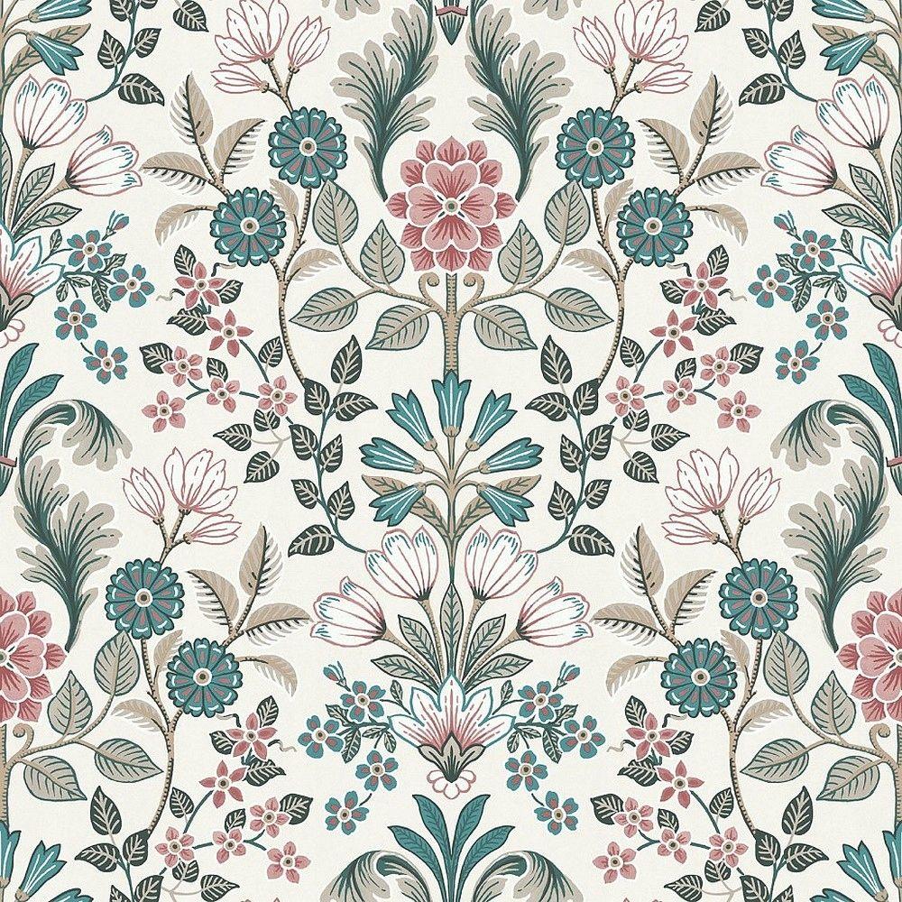 Tapeta Scienna Zmywalna Kwiaty Retro Folk Escapade Vintage Flowers Wallpaper Folk Art Flowers Pattern Art