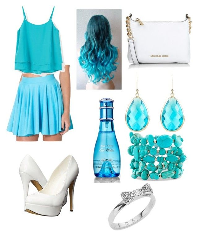 Blue and White outfit by bvb-aubrey on Polyvore featuring polyvore fashion style MANGO Michael Antonio Michael Kors Kate Spade Chico's Latelita Davidoff clothing