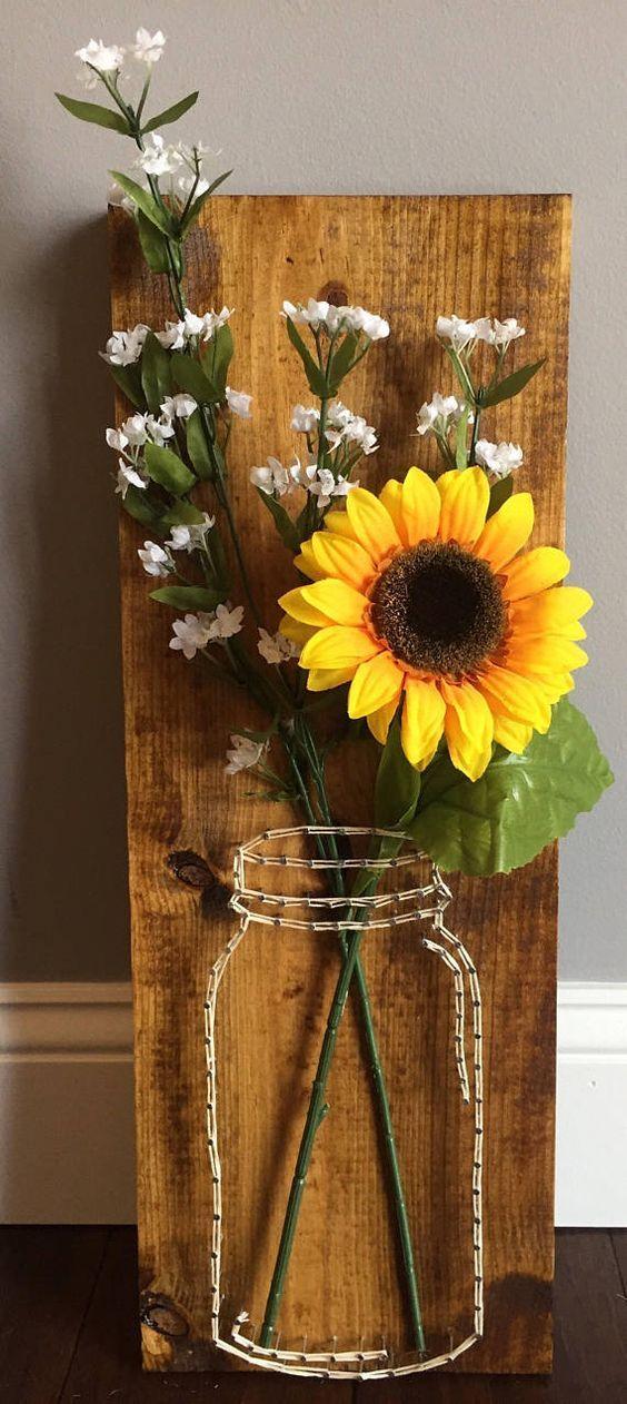 Items similar to Mason Jar Flower String Art on Etsy