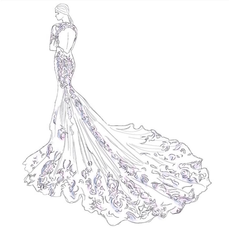 Wedding gown sketch   那年花开 That year the flowers   Pinterest ...
