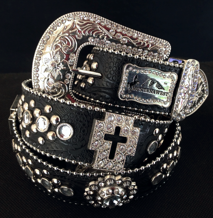 9c4bc01194c8b Montana West Rhinestone Floral Embossed Black Leather Belt w  Cross ...