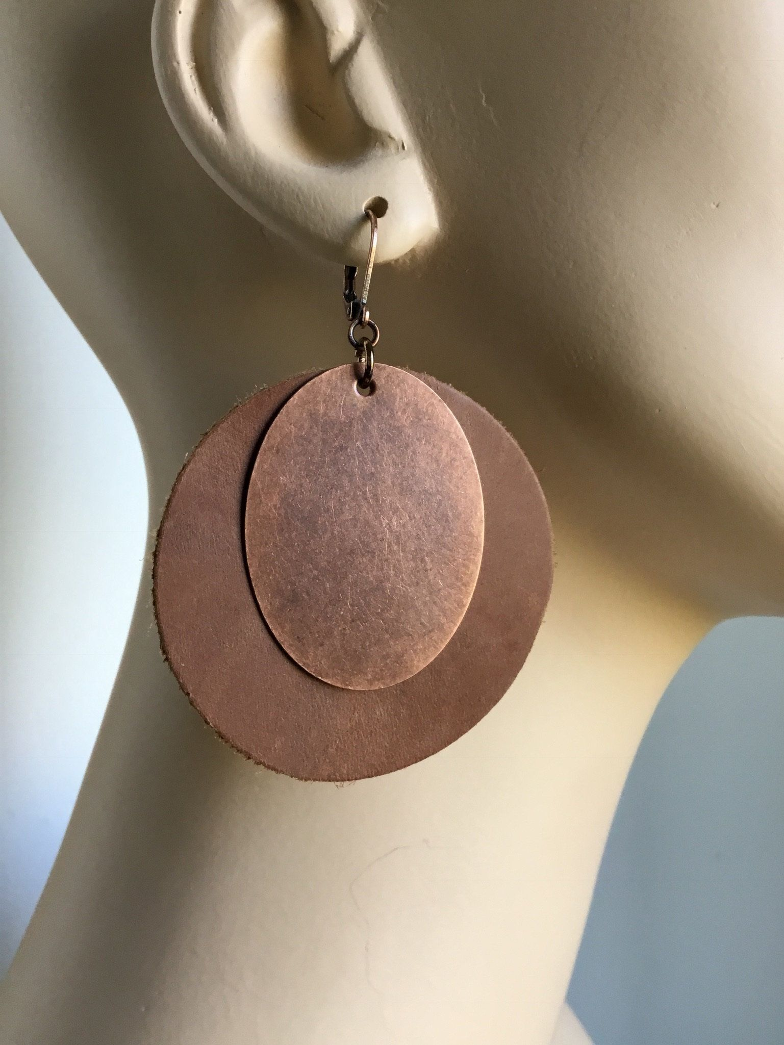 Photo of Large Brown Leather and Copper Round earrings, Brown Drop earrings, Handmade, Lever Back wires, leather jewelry