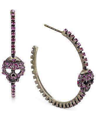 86d46145d Steve Madden Gold-Tone Pink Crystal Skull Hoop Earrings | Skull ...
