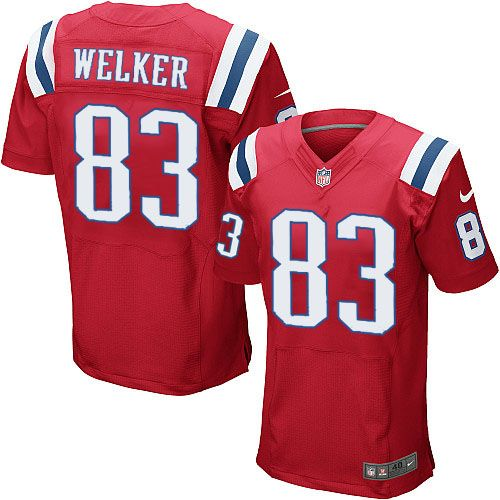 New Men s Red NIKE Game New England Patriots  83 Wes Welker Throwback NFL  Jersey  30a8b7ce9