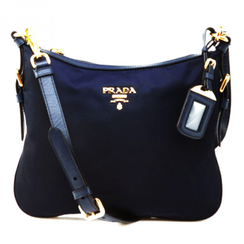 e9295c308eba PRADA NYLON SLING BAG BT0706 NAVY BLUE   BALTICO MADE IN ITALY ...