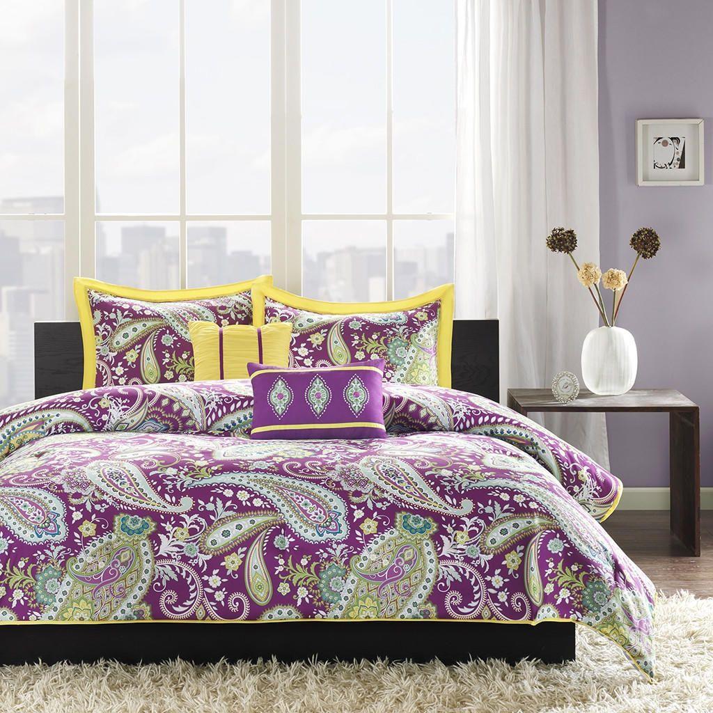 Full Queen Comforter Set Purple Yellow Green Paisley Pattern