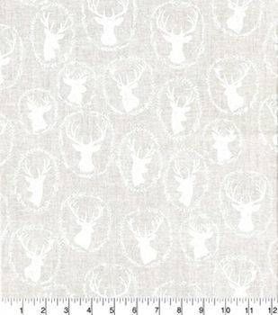 "Quilter's Showcase™ Cotton Fabric 44""Deer Head White"