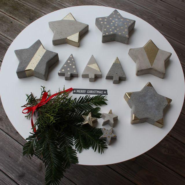 4 Freizeiten: DIY: Betonsterne - Frohe Weihnachten ... betonieren, kleiner Stern, Tannenbaum, Weihnachtsdeko