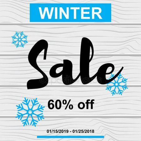 Vector Illustration Sale banner winter blue snowflake on wood t  Stock