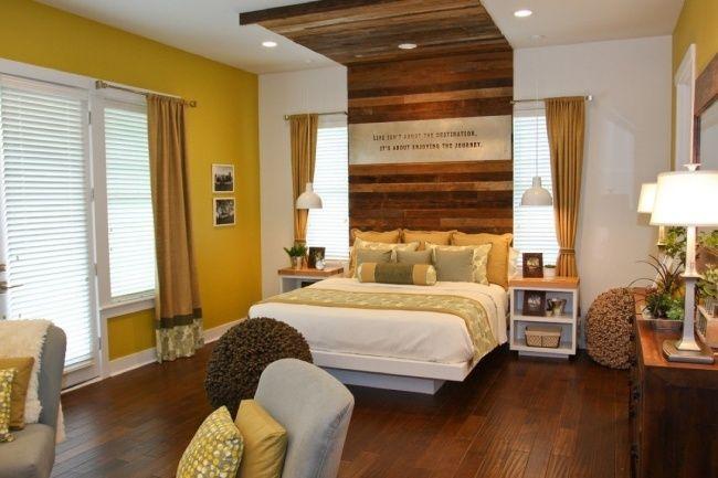 schlafzimmer gelb braun holz bett kompfteil wand ideen ...