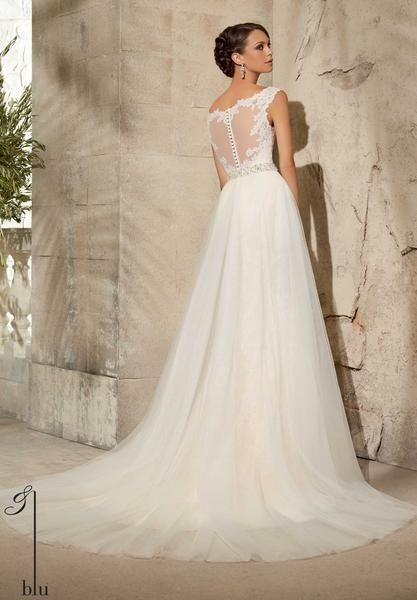 Blu - Alençon Lace Appliqués on NetShown with Removable Tulle Overskirt #11076, Sold Separately