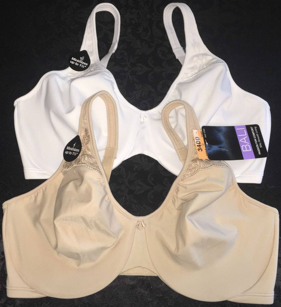 0a620a5bccbe6 NWT Lot of 2 Bali Passion for Comfort UW Minimizer Bra 3385 Nude White 34DD  Soft