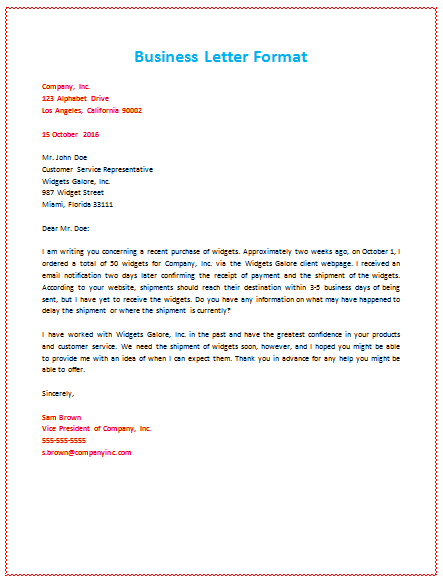 Business Letter Format About Shipment  Pcs    Business