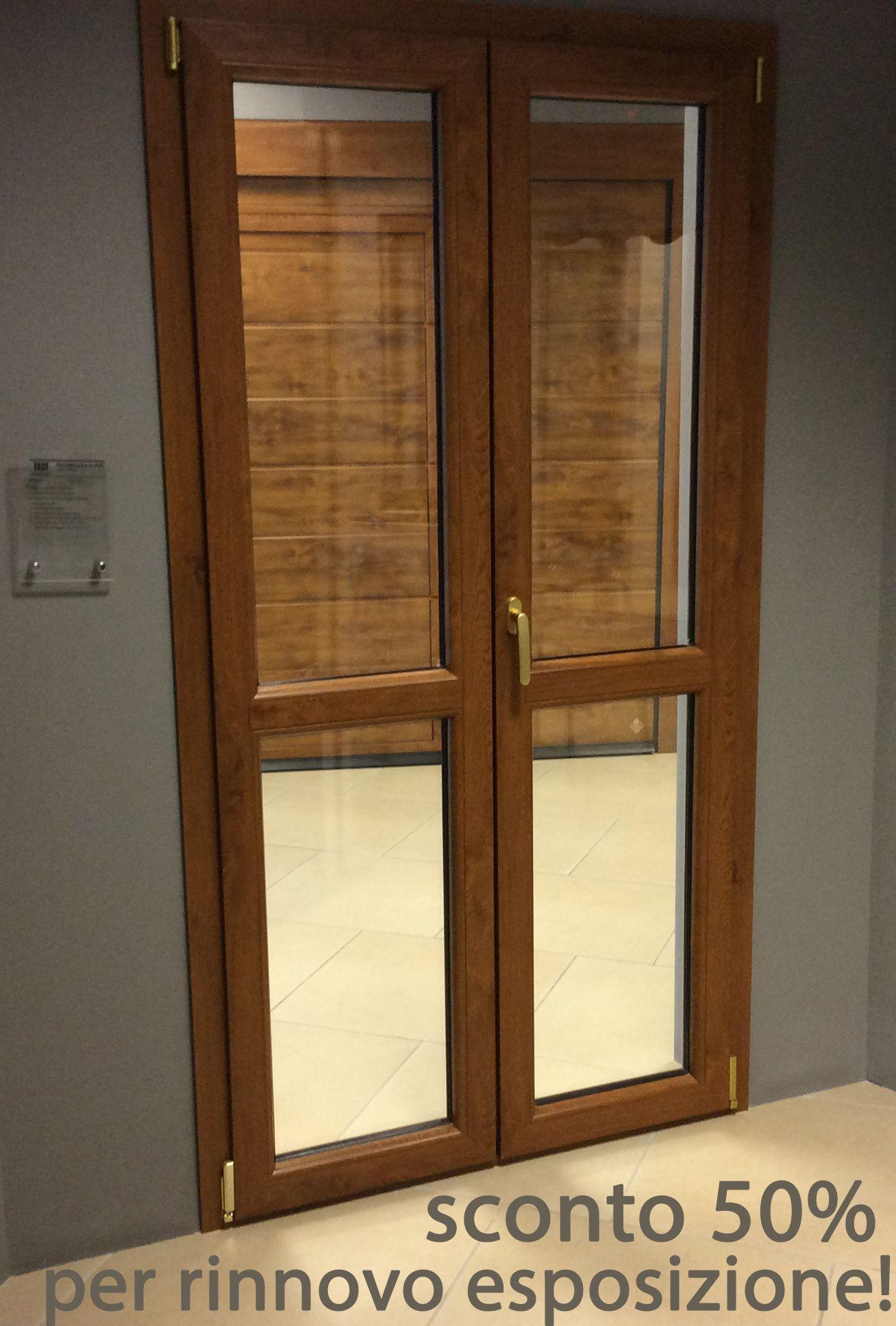 Porta finestra pvc a 2 ante pellicolata color noce telaio a z vetrocamera 4 12 4 apertur - Finestra pvc prezzo ...
