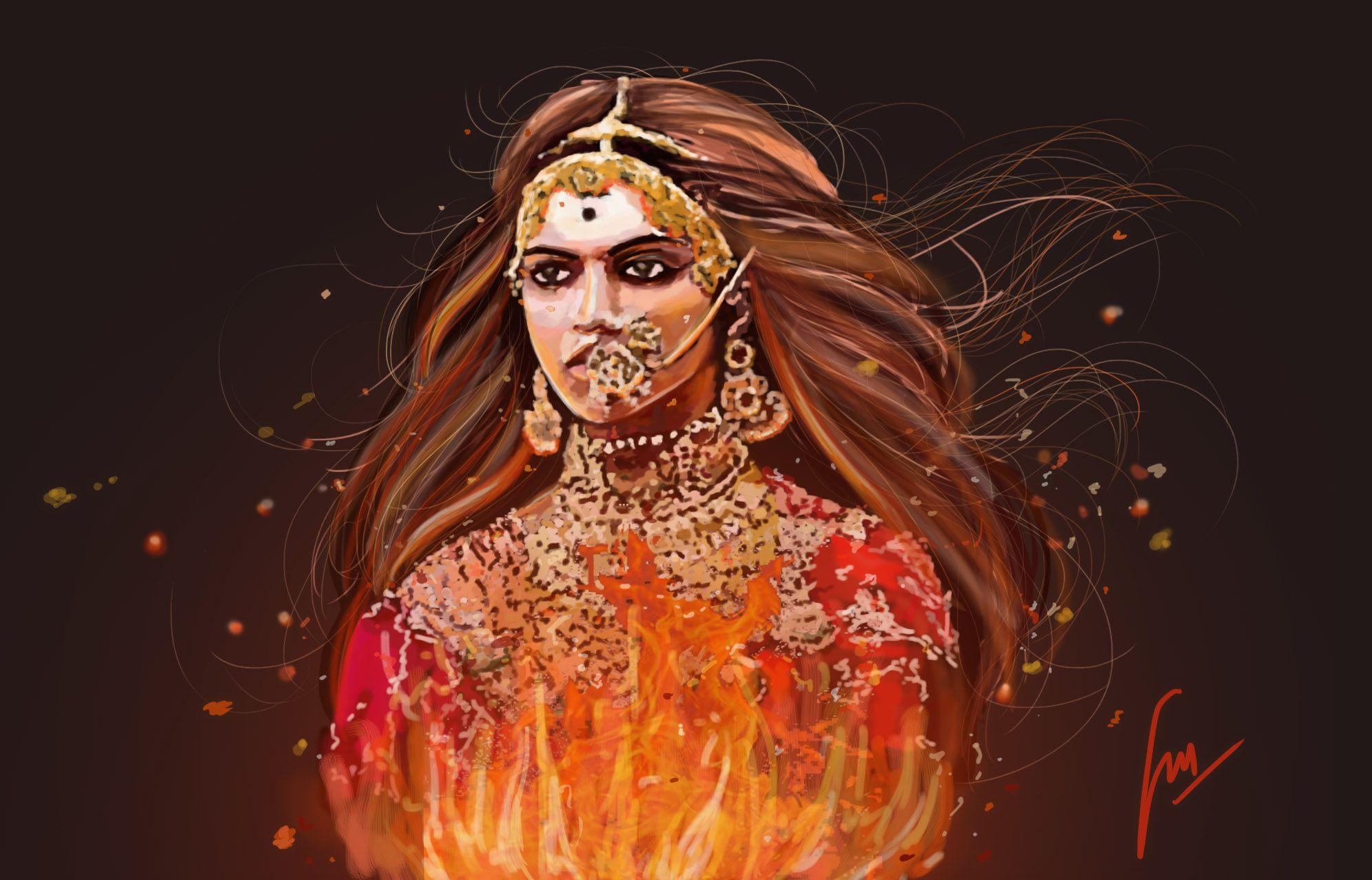 deepika padukone portrait , padmavati art by jagriti ...