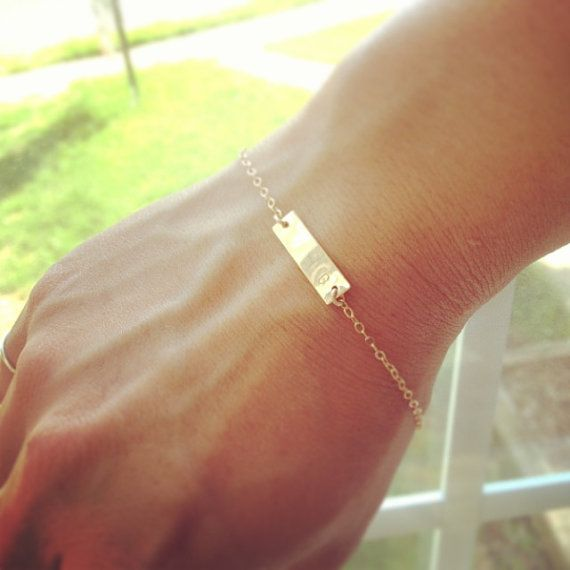 Dainty Nameplate Bracelet - Bar Bracelet  - All Gold Filled - Personalized Small Bar Bracelet - Everyday Jewelry