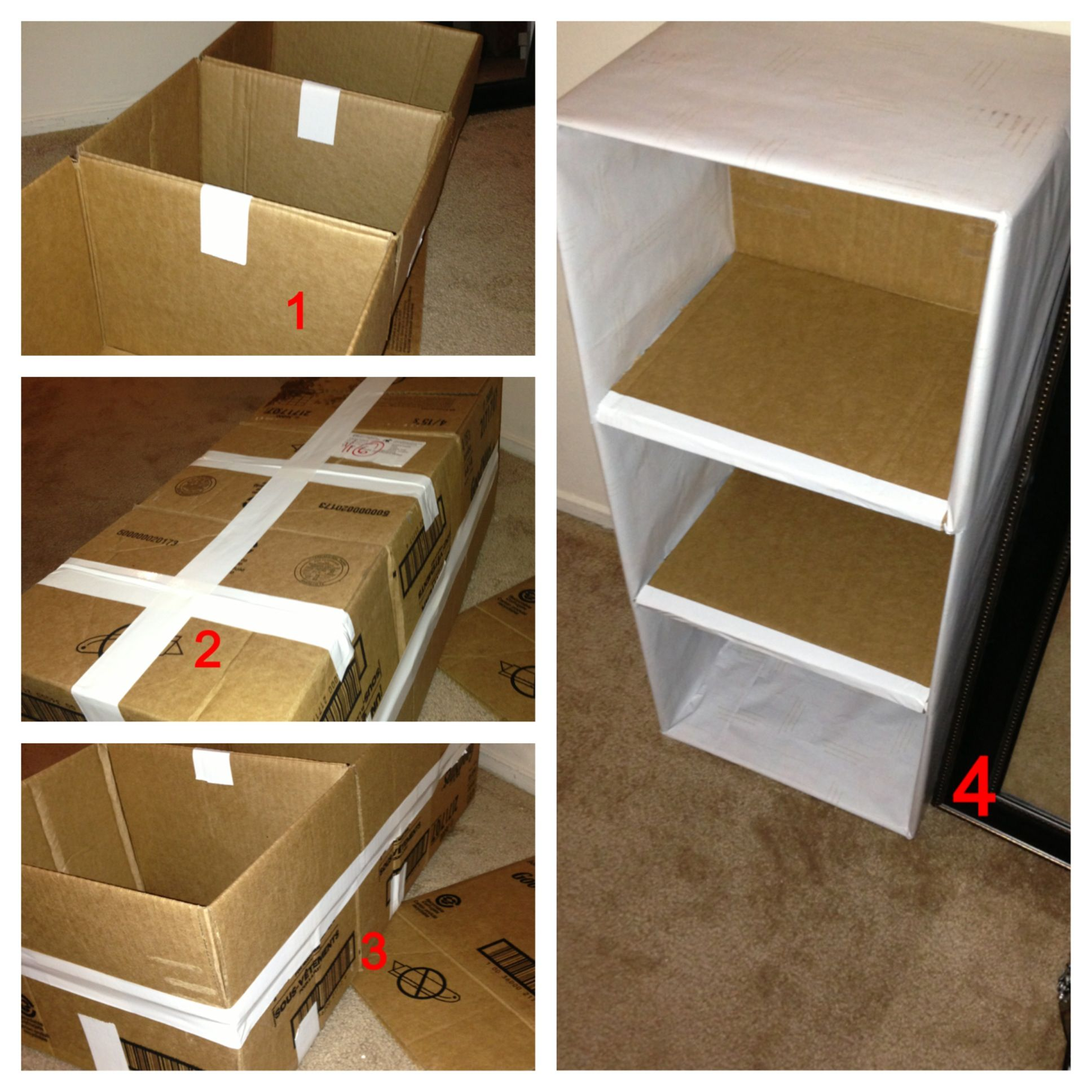 Diy 3 tier shelf from cardboard boxes creative for Diy shoe storage with cardboard