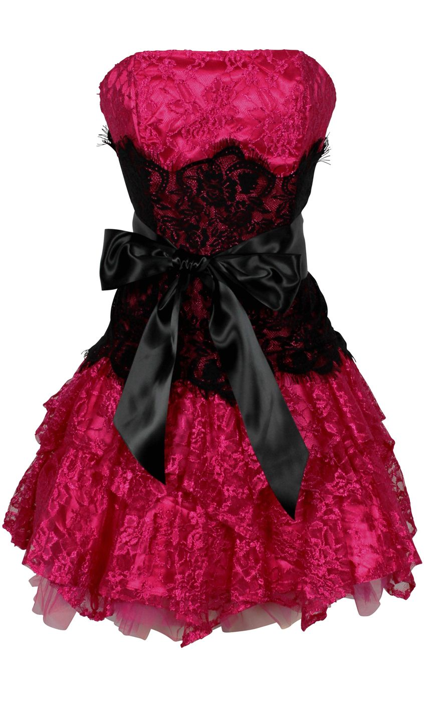 Strapless bustier contrast lace and crinoline ruffle prom mini dress