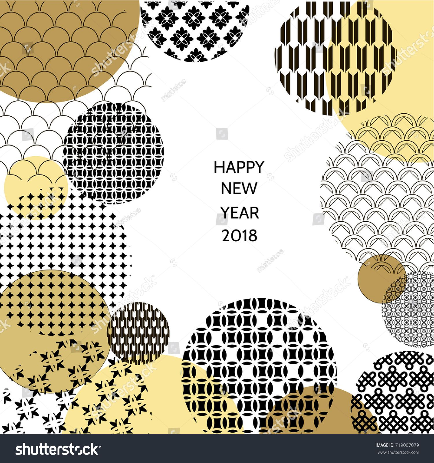 Happy new year 2018. Template greeting card in oriental