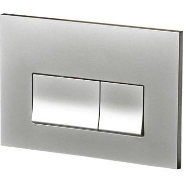 Plaque de commande WC rectangulaire Perline, chrome mat