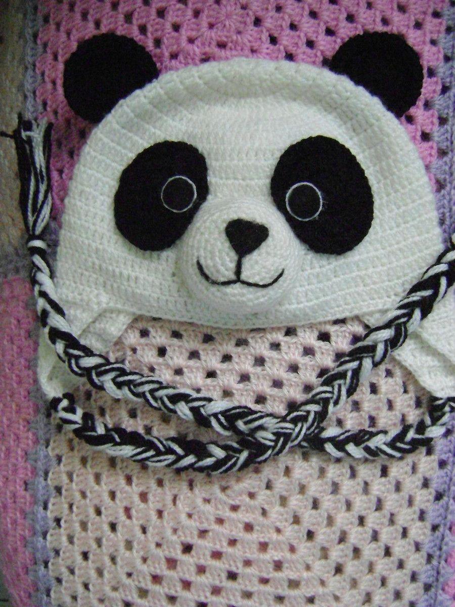 Gorro urso panda para bebê em crochê feito todo a mão. Fio anti-alérgico 8c3695a54a6