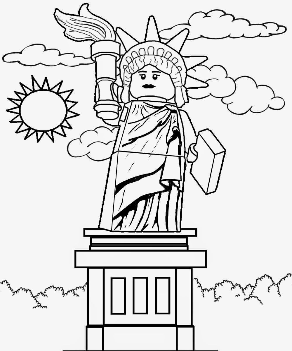 Online Free Color And Print Pictures Of Lego Sculpture Minifigures Series 6 USA Lady Liberty Statue
