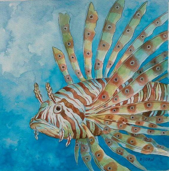 LION FISH Original Watercolor Painting Sea Life