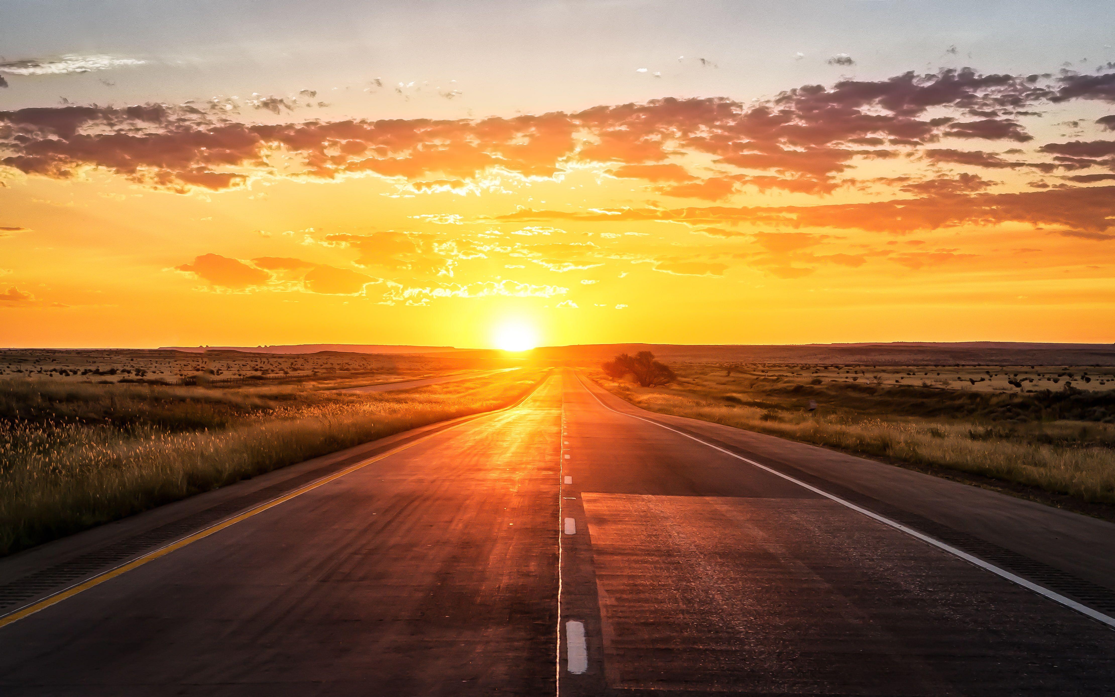Sunset 4k Highway 4k Wallpaper Hdwallpaper Desktop Sunset Road Sunset Artwork Sunset Nature