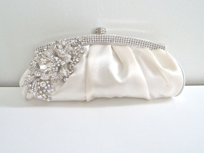 c76abb00cdda0 Ivory white satin evening bridal crystal clutch purse. | Handbags in ...