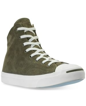 115523fa36491b Converse Men s Jack Purcell Jack Suede High Top Casual Sneakers from Finish  Line - Green 11.5