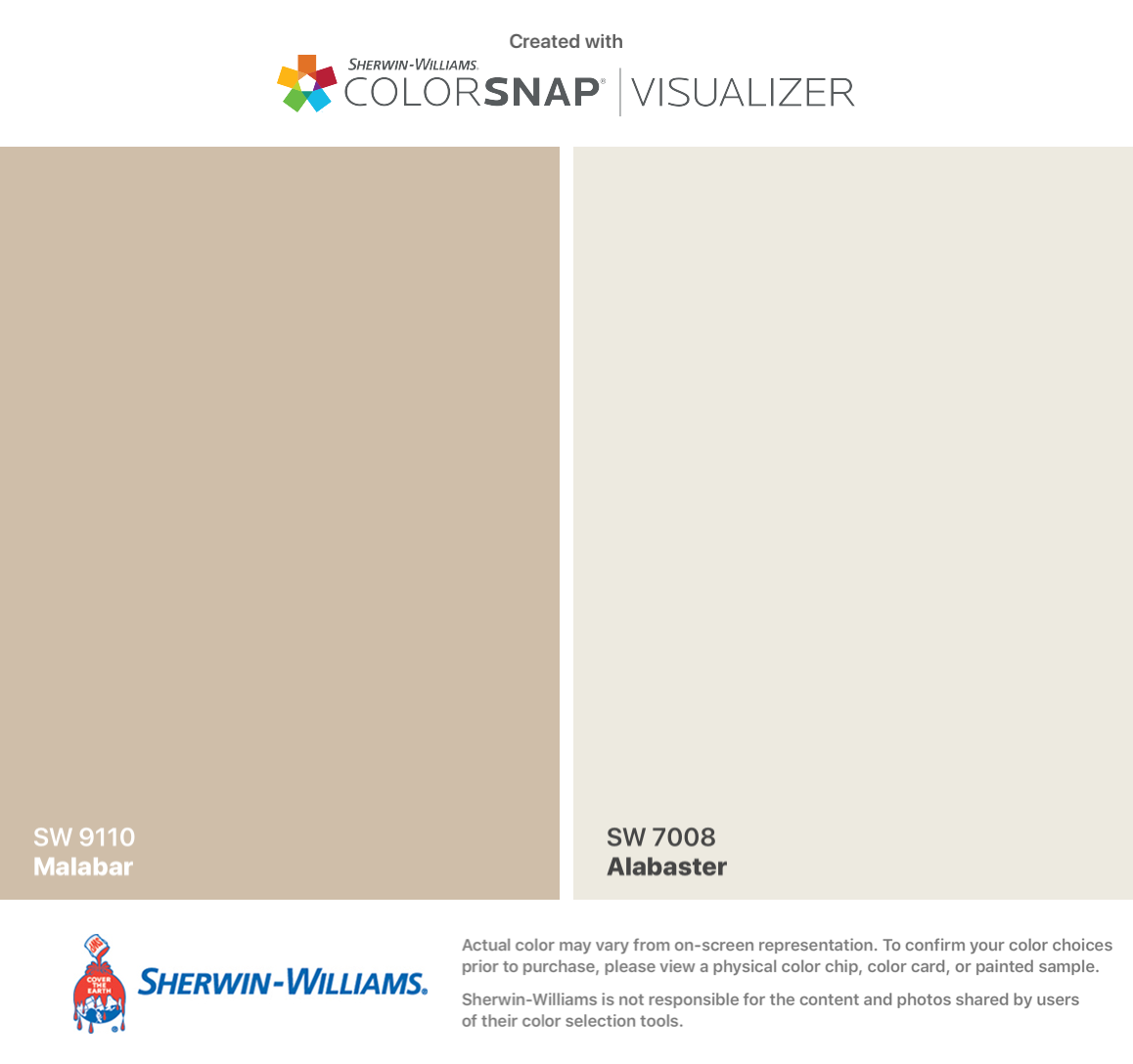 Sherwin williams malabar sw 9110 walls alabaster sw for Valspar paint visualizer