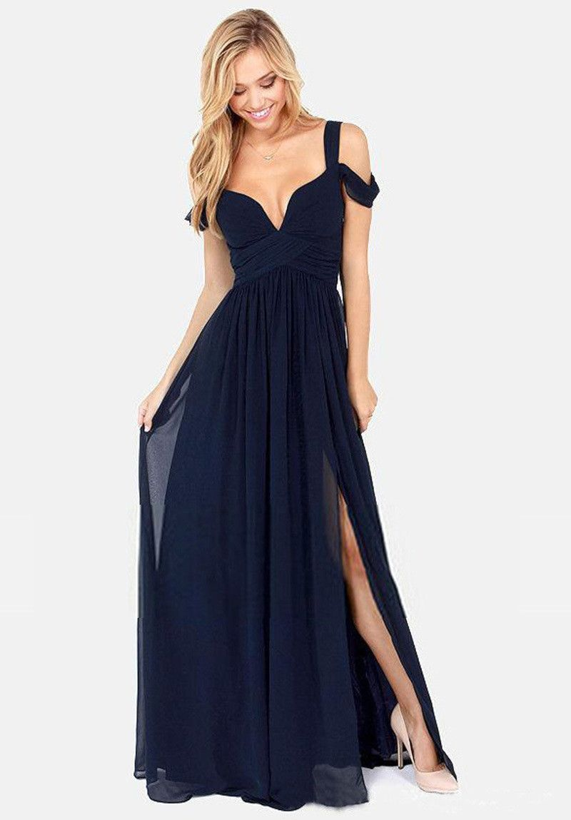 Solid color sexy backless vneck party dress long dress prom