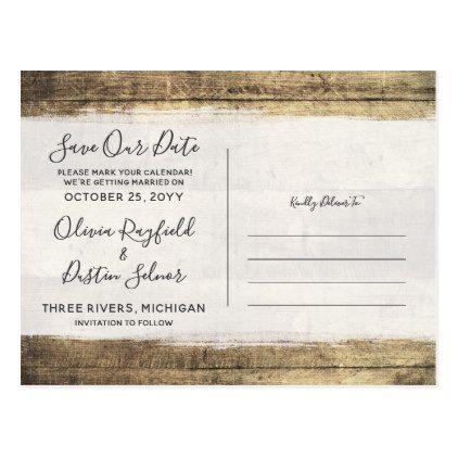 Save The Date Rustic Wood Wedding Custom Photo Postcard Custom - wedding postcard
