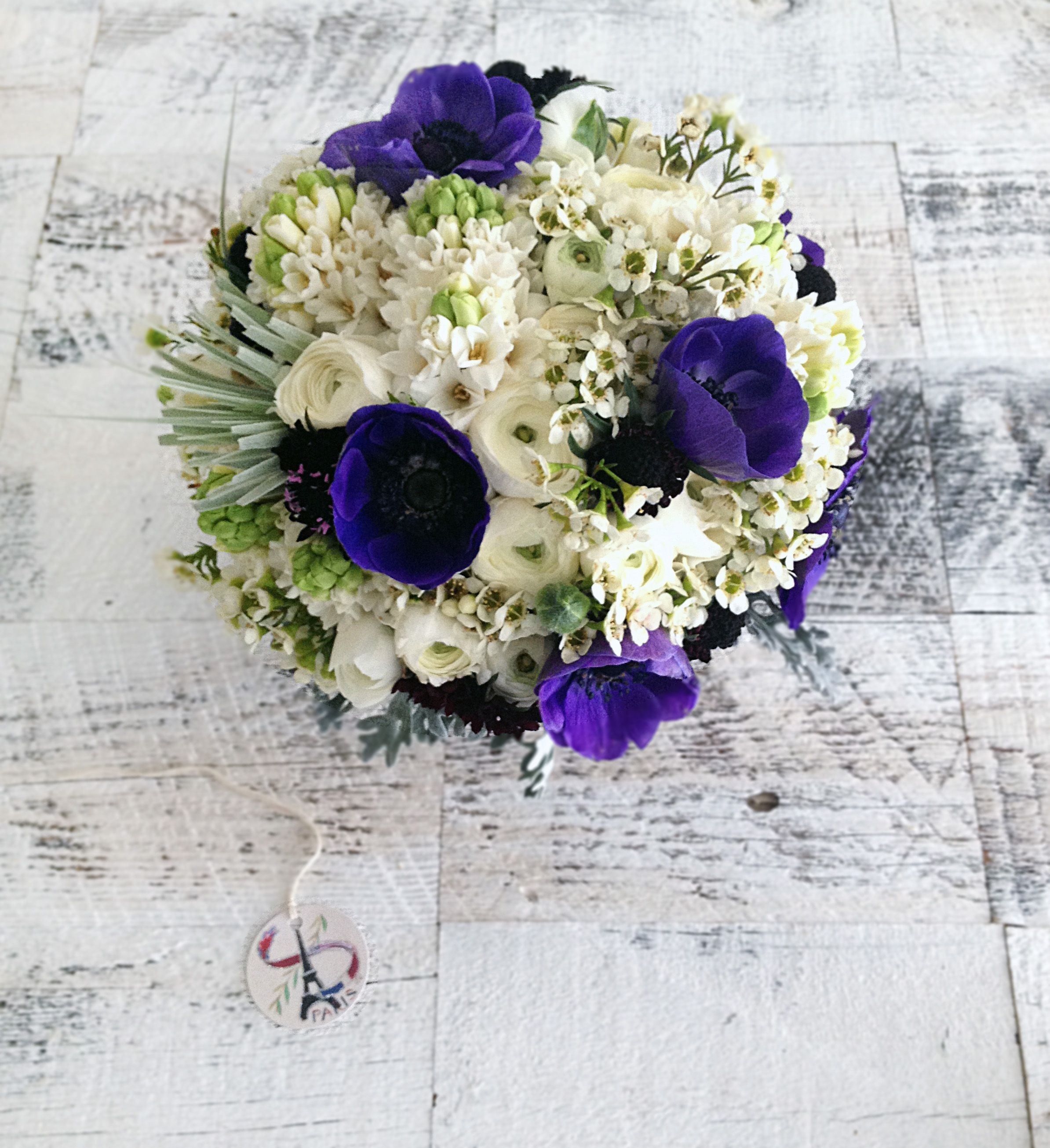 Purple white bouquet with anemone waxflower scabiosa purple white bouquet with anemone waxflower scabiosa ranunculus and hyacinth dhlflorist Choice Image