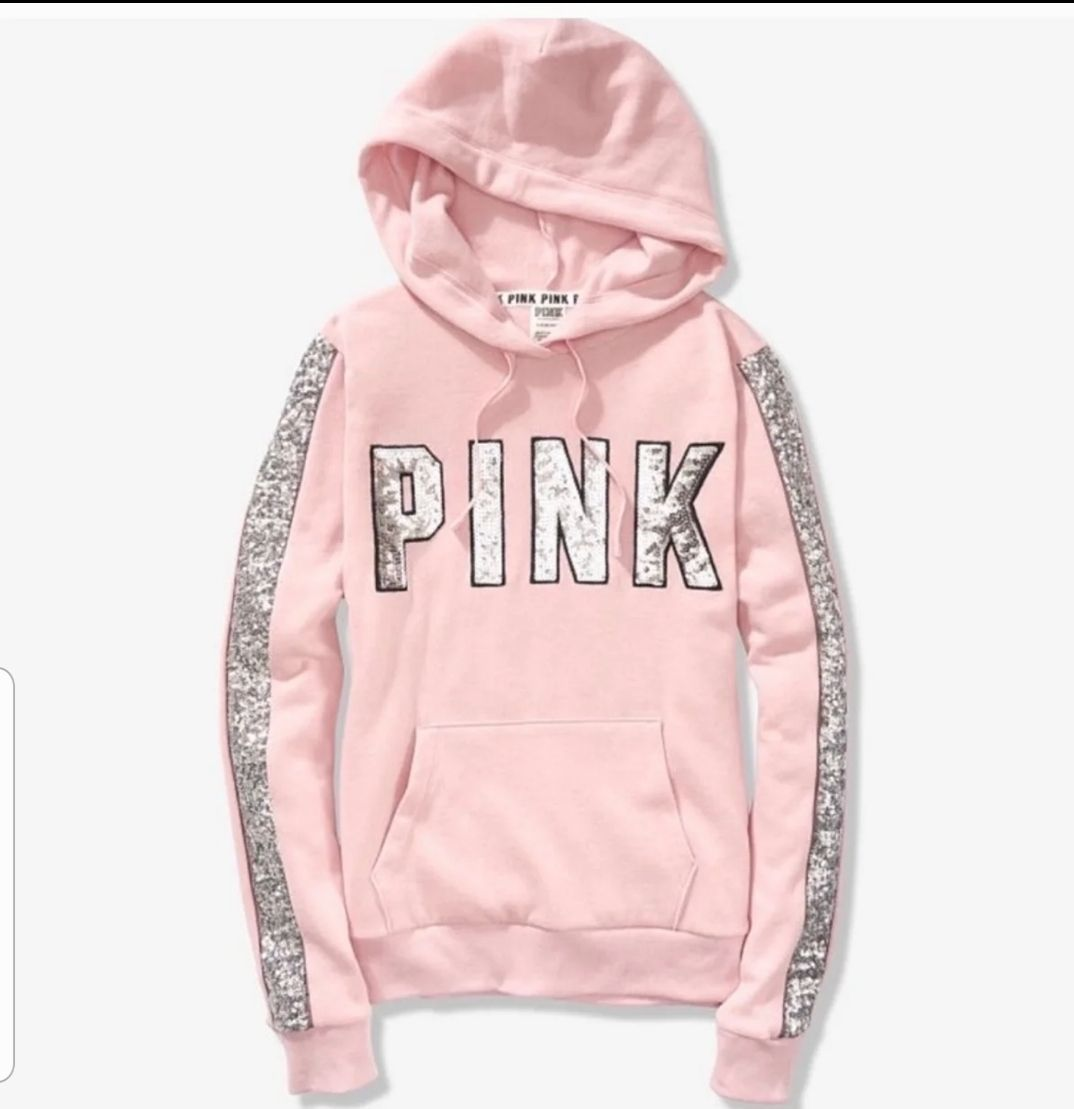 New With Tags Bling Chalk Rose True To Size Vs Pink Hoodie Winter Fashion Outfits Hoodies Womens [ 1109 x 1074 Pixel ]