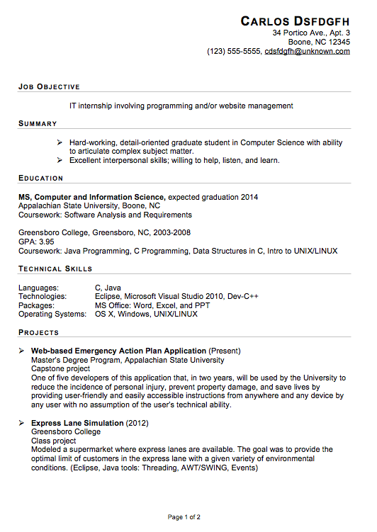 Sample Resumes For Internships Computer Science Functional