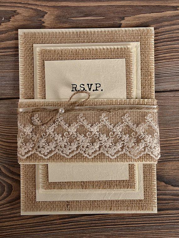 natural burlap wedding invitation country style wedding invitations