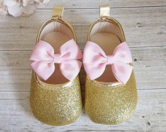 5d7b7ac343159 Gold Baby Shoes, Pink and Gold Baby Shoes, Pink and Gold First ...