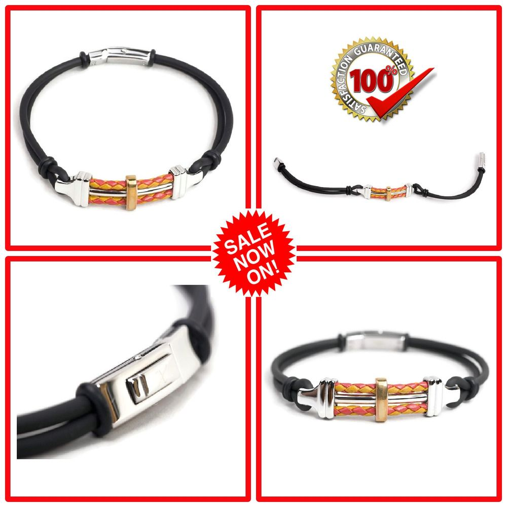 424499fb1 Stainless Steel Men's Bracelet With PU Rubber Silver & Black Wristband  Bangle #Bangle